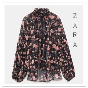 Zara Shimmery Floral Print Blouse - NWT